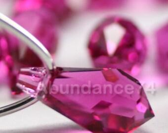 8pcs Swarovski Crystal 6000 11mm Teardrop Pendant Fuchsia
