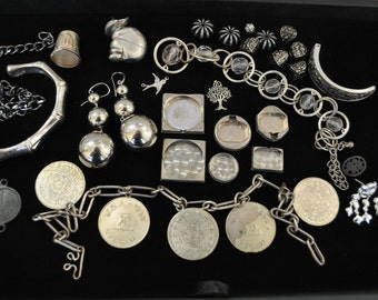 Vintage silver destash jewelry parts and beads or repurpose or deconstruction