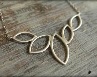 Jumbo Marquis Leaves Necklace, Available in Matte Silver or Gold