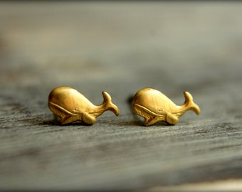 Whale Earring Studs in Raw Brass, Itty Bitty Whales, Stainless Steel Posts