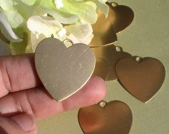 6pcs Raw Brass Blanks Stampings Large Heart Pendant Raw Brass Stamping Assemblage Jewelry Making Mix Media Collage Altered Art Supplies