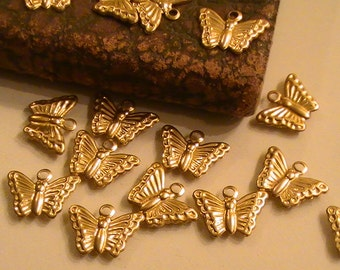 Tiny Butterfly Charm Raw Brass Stampings Brass Stamping Metal Findings Jewelry Supplies Jewelry Making Supplies Mixed Media DIY Finish 20pcs
