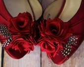 Wedding Shoes -- Rouge Peeptoe Wedding Shoes with Red Roses on Heel and Toe with Polka Dot Feather Accents