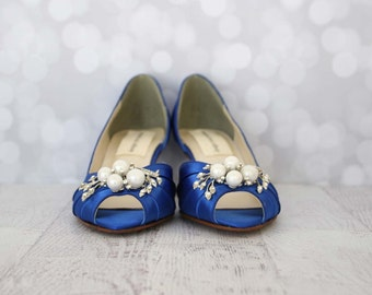 Custom Wedding Shoes -- Royal Blue Peeptoes with Pearl and Rhinestone Adornment