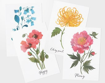 Floral postcard set of 4