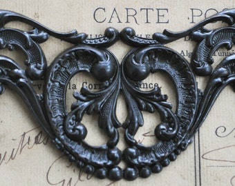 TWO Neo Victorian Brass Necklace Bases, black satin finish