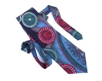 Pour Monsieur Vintage Silk Necktie, Men's Tie in Burgundy, Emerald, Blue, Gray and Navy