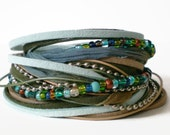 bohemian leather wrap bracelet, ribbon suede wrap, seed beads, blue green brown wrap bracelet, rocker cuff, triple wrap, gift for her