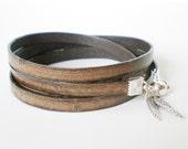 distressed brown leather wrap bracelet, unisex cuff, angel wings, boho chic, rocker style, mens leather bracelet, gift for him, gift for her