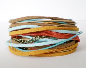 boho wrap bracelet, orange turquoise wrap bracelet, ribbon suede wrap bracelet, festival jewellery, triple wrap bracelet, gift for her