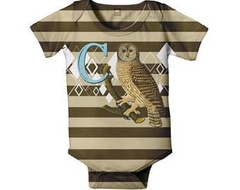 Boy's Owl Bodysuit, Personalized Baby Boy Striped Monogrammed One-Piece
