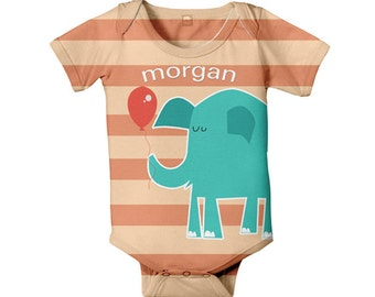 Baby Bodysuit, Personalized  Elephant Stipes Gender Neutral Boy Girl Infant Onepiece, Snapsuit