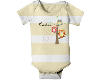 Owl Baby Bodysuit, Personalized Striped Infant One-Piece Clothing