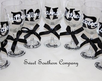 4 Monogrammed Bride and Bridesmaid Wine Glasses