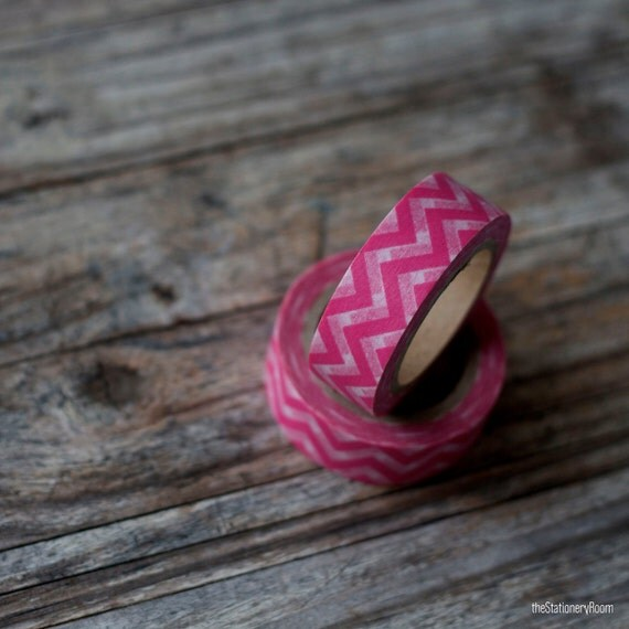 Japanese Washi Tape - Masking Tape Roll in Pink and White Chevron Pattern