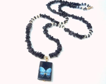 Gemstone necklace, Long Black Moonstone necklace with Citrine,Angelite  gemstones, Onyx Butterfly pendant