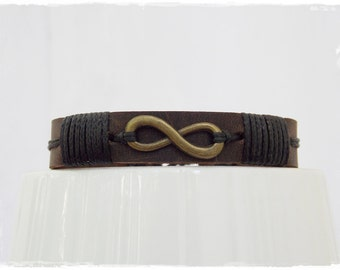 Infinity Leather Bracelet, Leather Men's Bracelet, Leather Infinity Bracelet, Friendship Bracelet Cuff, Eternity Symbol Leather Bracelet