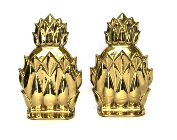 Brass Pineapple Bookends- great Hollywood Regency style, from Virginia Metalcrafters
