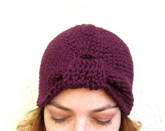 Turban Hat Crochet Womens Purple Cloche