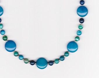 Handmade Jewelry, Beaded Necklace, Jade Jewelry, Aqua Necklace, Agate Necklace, Blue Green Necklace, Jade Agate Beaded Necklace, Beadwork