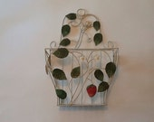 Vintage White Hanging Coated Metal Basket with strawberries blossems & leaves
