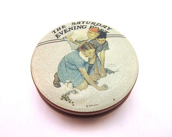 Vintage Round Marble Tin Saturday Evening Post Norman Rockwell collectable