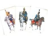 Vintage Soldier Postcards Blue Uniform Horses Christmas Ephemera