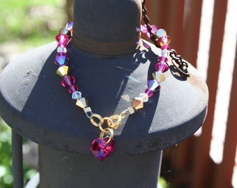 Bracelet Crystals Multi Colored Gold