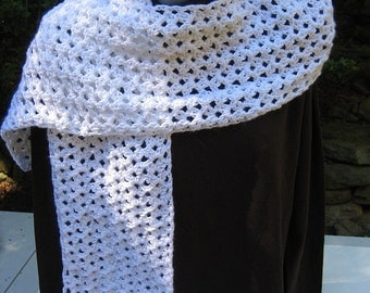 "Crocheted Scarf - White - Soft & Lacy - 7"" x 55"""