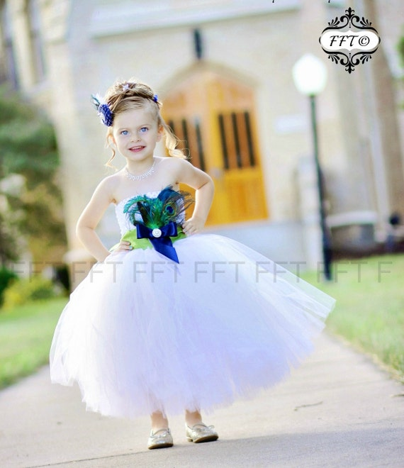 Peacock Feather Flower Girl Tutu Dress - sash & feathers customizeable