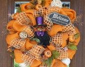 Natural Orange BURLAP HALLOWEEN Wreath with OWL