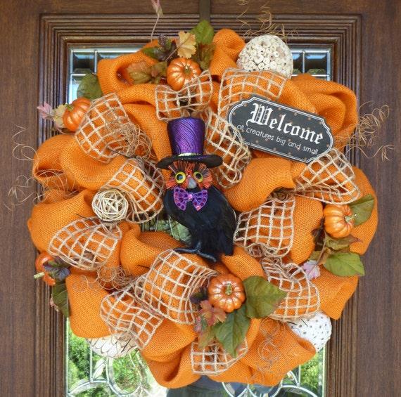 Natural Halloween Decorations: Items Similar To Natural Orange BURLAP HALLOWEEN Wreath