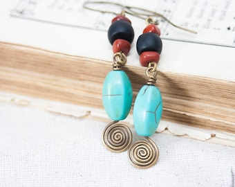 SALE Antiqued Brass Swirl Wire Wrapped Turquoise Stone Earrings Back Onyx Red Coral Boho Fall Artsy