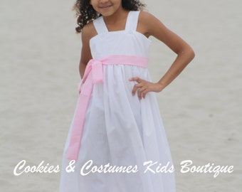 White cotton and lace flower girl dress perfect for weddings,beach weddings,junior brides maid,photoprop