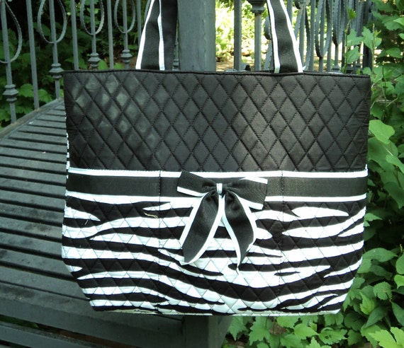 Diaper Bag, Quilted 3 piece, Personalized - Black and White Zebra Skin
