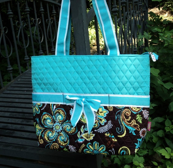 Diaper Bag, Quilted 3 piece, Personalized - Cornflower blue and black paisley pattern