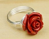Red Rose Ring- Sterling Silver Filled Wire Wrapped Carved Gemstone Rose - Any Size- Size 4, 5, 6, 7, 8, 9, 10, 11, 12, 13, 14