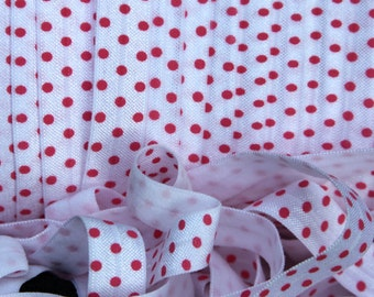 "FREE Shipping 25.00 5/8"" Fold Over Elastic White With Azalea Pink Dots Print - FOE - Elastic by the Yard - DIY - Baby Headbands - Hair ties"
