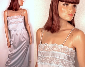 1980s maxi nightgown // sheer lace bust