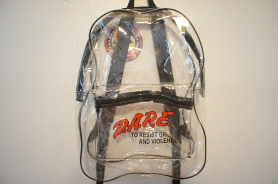 Clear Backpack Pvc DARE School Book bag