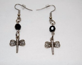 Dragonfly Earrings with Black Bead, Stainless Surgical Steel