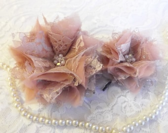 Dusky Pink Silk and Lace Organza Bridal Hair Flowers