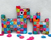 Dog Pillow Tutorial Plush Patchwork Puppy Pattern PDF Quilted Stuffed Baby Toy Cushion Scrap Buster Flatty Dog Mama and Baby La Todera