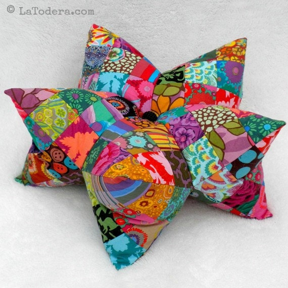 Star Pillow Pattern, Star Pincushion Pattern, Patchwork Star Pattern, Patchwork Star Cushion Pattern, Harlequin Star, 3D Star Softie, Kaffe