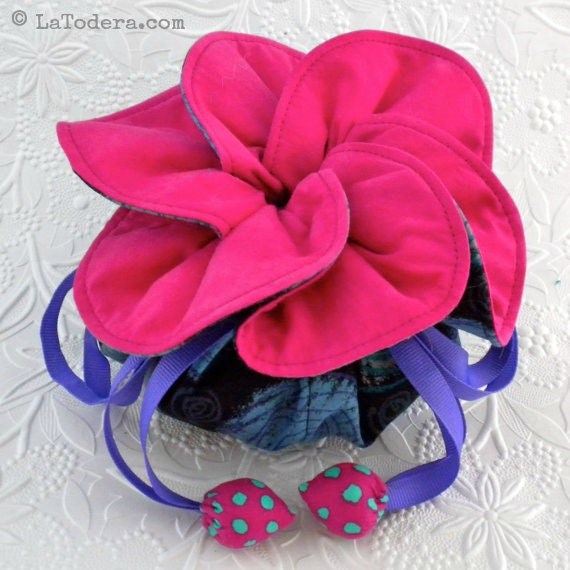 jewelry pouch pattern fabric flower drawstring bag