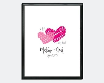 """Wedding Guest Book Poster PDF - """"I do"""" Scribble Hearts - Personalized Printable"""