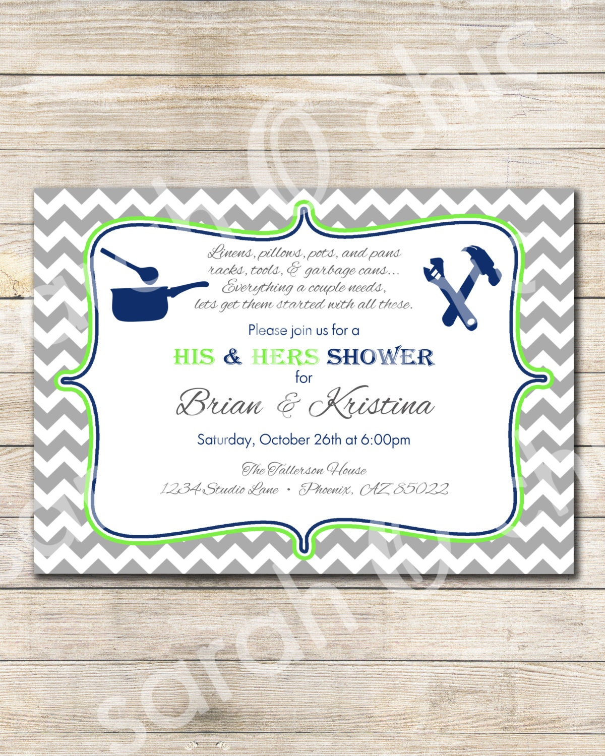 His Hers Wedding Invitations Templates: His And Hers Wedding Shower Invitation Colors By SarahOchic