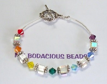 "Handmade 8"" RAINBOW CHAKRA BRACELET Swarovski Crystal and Sterling Silver Accents Toggle Clasp"
