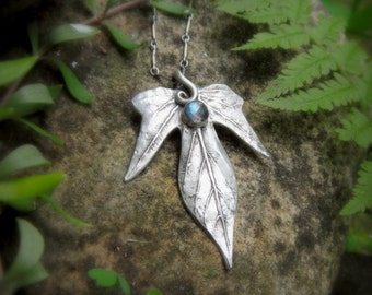Elven Leaf Necklace With Labradorite - Made With a Real Leaf - Silvan Leaf - Artisan Handcrafted with Recycled Silver - Woodland - Forest