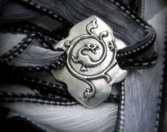 Dragon Bracelet- Silver & Silk Wrap Bracelet- Artisan Handcrafted with Recycled Silver and Hand Dyed Silk